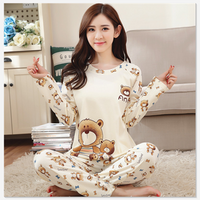 Fashion Summer Thin Long Sleeve Trousers Wheat Spike Woman Cute Cartoon Pattern Milk Silk Pajamas