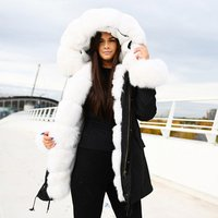CX-G-P-02D Ladies Women Winter Latest High Quality Real Fox Collar Faux Fur Lined Parka Coat for Sale