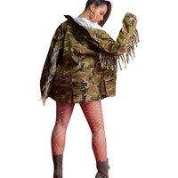 Womens Camo fashion fall jacket outwear coat with tassel MN064