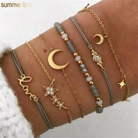 6 Pcs/ Set Retro Hollow Star Moon Love Crystal Pendant Gold Chain Multilayer Acrylic Bead Rope Bangle Bracelet Set For Women