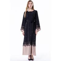 Women Lace Muslim Dress Maxi Pearls Abaya Jalabiya Islamic Clothing Robe Moroccan Kaftan Dresses Plus Size Y10009