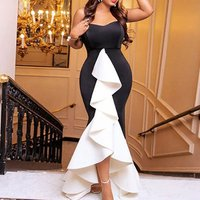Women Party Wear Dress For Women Evening Long Club Dress Sexy Ruffle Patchwork Black White Contrast Color Dresses