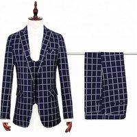 Custom Plaids Design Slim Fit Coat Pant Men Suit
