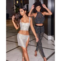 2019 Hot Sale Sexy Bodycon Women Two-Piece Crop Tube Side Slit Skirt Top Set