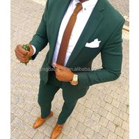 fashion design slim fit green coat pants single button high class custom men suit