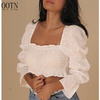 OOTN Female Summer Chemise Square Neck Elastic Sexy Women Eyelet Embroidery Crop Tops Shirts Puff Long Sleeve White Tunic Blouse