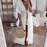 2019 Summer Women Lace Up Casual Design Cardigan Beach Bikini Cover Up Tops See Through Maxi White Beach Dress