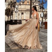 Sexy Deep V Spaghetti Strap backless  golden sequins lace bling long wedding dress evening party dress for woman