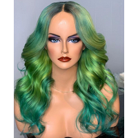 Fashion Rainbow Virgin Hair #2 Ombre Blue Green Loose Wave Colorful Lace Front Wig Best Selling Human Hair wig