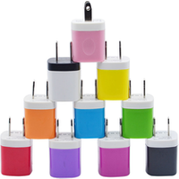 '5v 1a Stylish Colors Universal Usb  Phone Charger  Plug With Easy Grip For Home, Office, Travel