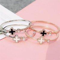 Hot design stainless steel four leaf clover ladies bracelets bangles for women
