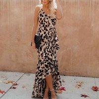 High Quality Women Sexy Backless Leopard Fashion Fishtail  Chiffon Print Pleated Maxi Dress