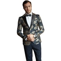Mens Elegant Jacquard 2 Piece Suit Slim Fit  Tuxedo