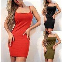 Sexy Women Clothing Female Tops Casual Sundress 2019 Solid Sleeveless Evening Party Formal Mini Slim Dress Summer Beach Dress