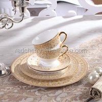 6pcs/set Bone china European style dinnerware set fashion design dinner plate and coffee cup set