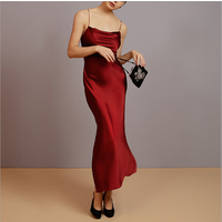 Elegant 100% silk long skirt big halter strap long skirt sexy silk strap nightdress silk slip dress