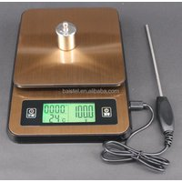 Digital Kitchen Scale 0.1g-2kg USB Electronic Coffee Scale Food Scale with Timer LCD Display Thermometer Tare Multifunction