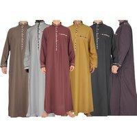 Latest abaya designs dubai men fashion cheap Middle eastern tunic kaftan long sleeve loose Saudi Arab Muslim thobe