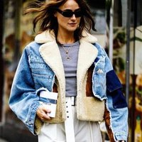 Custom Fashion Suede Women Denim Jacket Warm Winter Shearling Women Suede Jacket Oversized Coat
