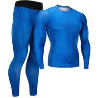 compression shirts sport leggings for men suit spandex long sleeve gym yoga wear T shirts tight pants set