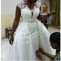 ZH3876G Vestidos African Lace Wedding Dresses With Detachable Train Handwork Cap Sleeves Sheer Neck Plus Size Bridal Gown