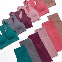 Wholesale Women Sports Gym Wear Tights And Crop Top 2 Pieces Seamless Yoga Set