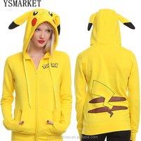YSMARKET Fashion Women Jacket Yellow Solid Pokemon Pikachu Printed Costume Tail Zip Totoro Hoodie Sweatshirt Sudaderas Muje