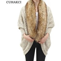 CUHAKCI Fashion Women Faux Fur Collar Coat Batwing Sleeve Loose Casual Warm Cardigan Shawl Sweater 2018 Spring Autumn Cardigans