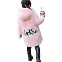 Women Girl Kid Faux Fur Outerwear Overcoat Long Jacket Soft Warm Hooded Coat