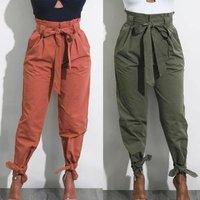 women OL chiffon high waist harem pants bow tie drawstring sweet elastic waist pockets casual trousers pantalones E52154