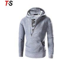 Custom autumn outwear contrast color long sleeve men fleece hooded jacket