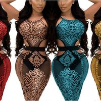 80409-MX113 fashion sexy party dress shining evening club wear see through lace design for women
