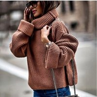 'Turtleneck Sweaters Women Winter 2019 Jumpers Knitted Clothes Fashion Striped Oversized Pullover