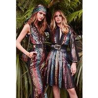 2019 Fahion Celebrity party slip long sequin evening dress sleeveless lady bodycon bandage dress