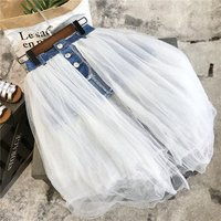Denim skirt for girls tulle fashion childerns clothing wholesale ready made lots  kids skirts  540
