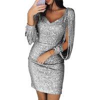 2019 New Arrival Women Casual V Neck Sequins Long Sleeve Tassel Slim Pencil Skirt Dress Party Dress Clubwear S-3XL