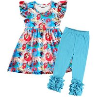 Hot sale fly sleeve kids clothing child boutique baby girl clothes girls shorts set