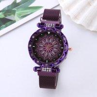 Jewelry Inlay Flower Quartz Girls Women Leather Band Watch Lady Dress Wristwatch Magnetic Strap Watch