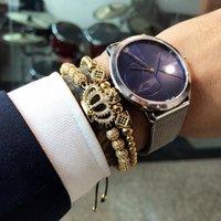 Mcllroy Custom charm bracelet 2019 Hand Woven Crown gold plated stainless steel bead adjustable bracelets charm men bracelet