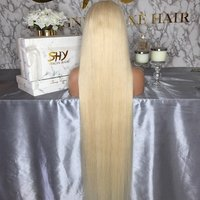 Top Quality Raw Hair Preplucked Glueless 40 Inch Human Hair Blonde Full Lace Wig In Stock
