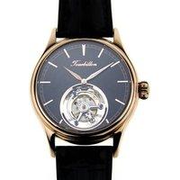 High Beat Mens Watch Flying Mechanical Tourbillon Skelenton Luxury Hangzhou 28800BPH Gold plated Black Watch Dress