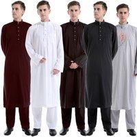 Arabic Men Islamic Clothing White Abaya Two Pieces Moroccan Kaftan Muslim Thobe Musulman Robe Saudi Arabia Clothing