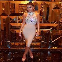 women colorful rhinestone crystals beading sexy bodice drill beaded mesh see-through stitching bandage dress tight evening dress