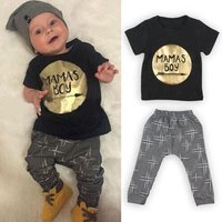 2 Pieces Cute Baby Boy Clothing Set Mamas Boy Baby Outfit Children Black Clothes