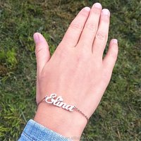 Custom Name Bangle Adjustable Bracelet Stainless Steel Link Chain Jewellery Gold Plated Women Girls Birthday Gift