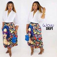 Womens Graffiti Pleated Skirts Cartoon Printed Elastic Waist A-Line Swing Midi Skirt Coldker