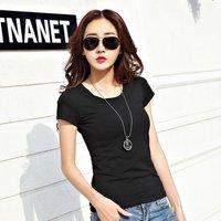 High Quality Women Tops Summer 2018 Casual Girls V Neck Short Sleeve Fashion White Black Tee Ladies Cotton T-shirt Women