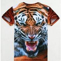 Graphic Tee Animal Tiger Men Tshirt Printing Custom T Shirt Short Sleeve Couple T-shirt Summer Funny T-shirts Wholesale Unisex