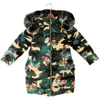 Girls cotton coat 2018 winter new childrens thick butterfly camouflage cotton jacket