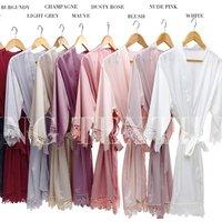 FUNG 3031 Short Design  Women Kimono Silk Matte Satin  Lace Bridal Robes
